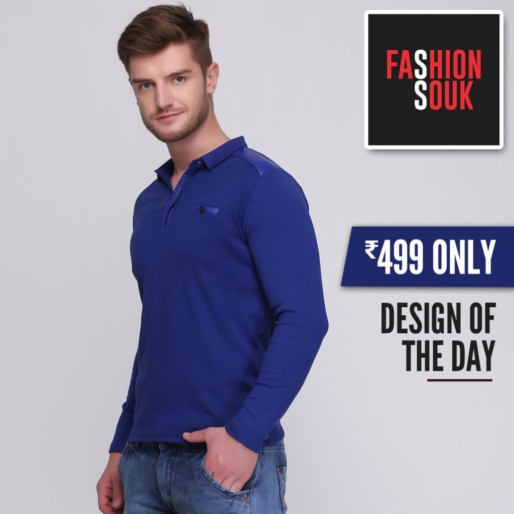 full sleeve blue t shirt