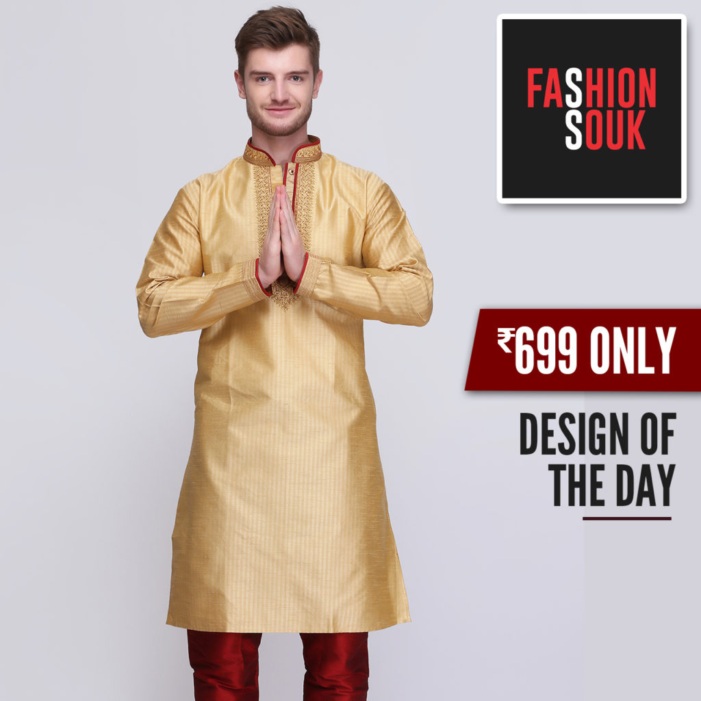 golden red kurta