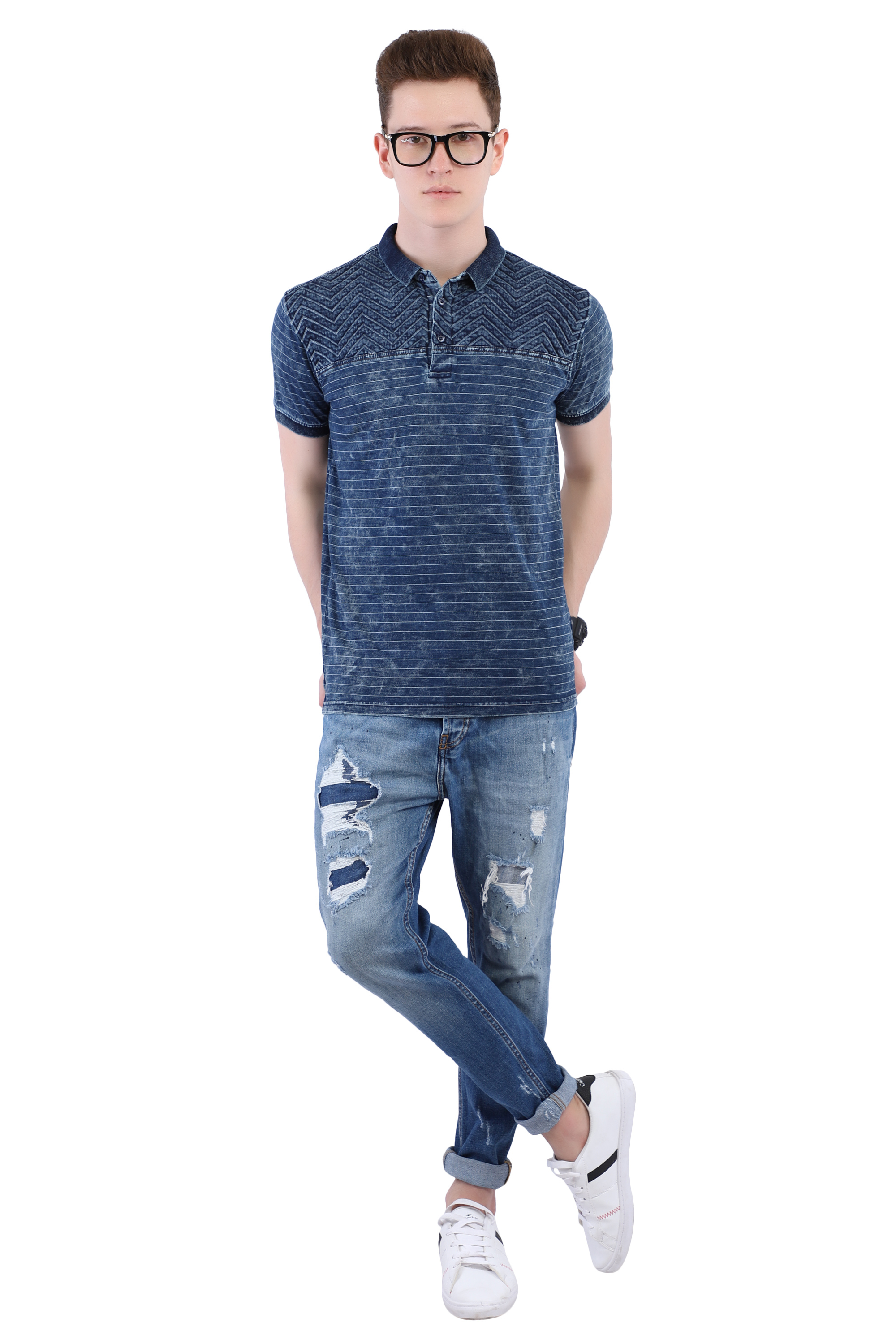 Blue Collared T-shirt (Pattern) Image